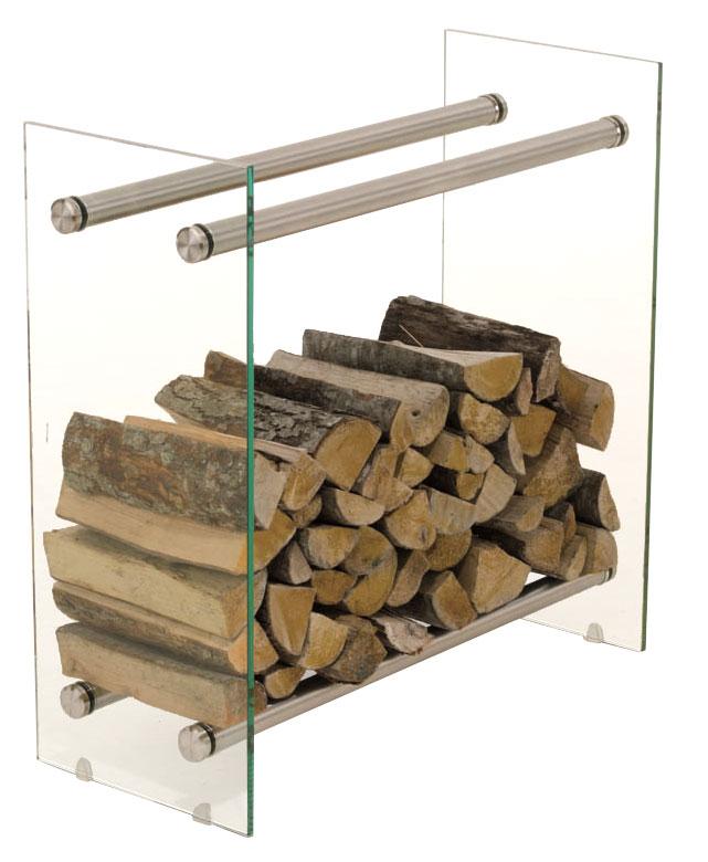 Stojan na dřevo Malin, 80x60 cm, čiré sklo