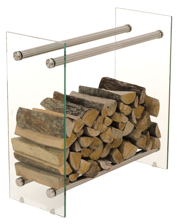 Stojan na dřevo Malin, 80x80 cm, čiré sklo