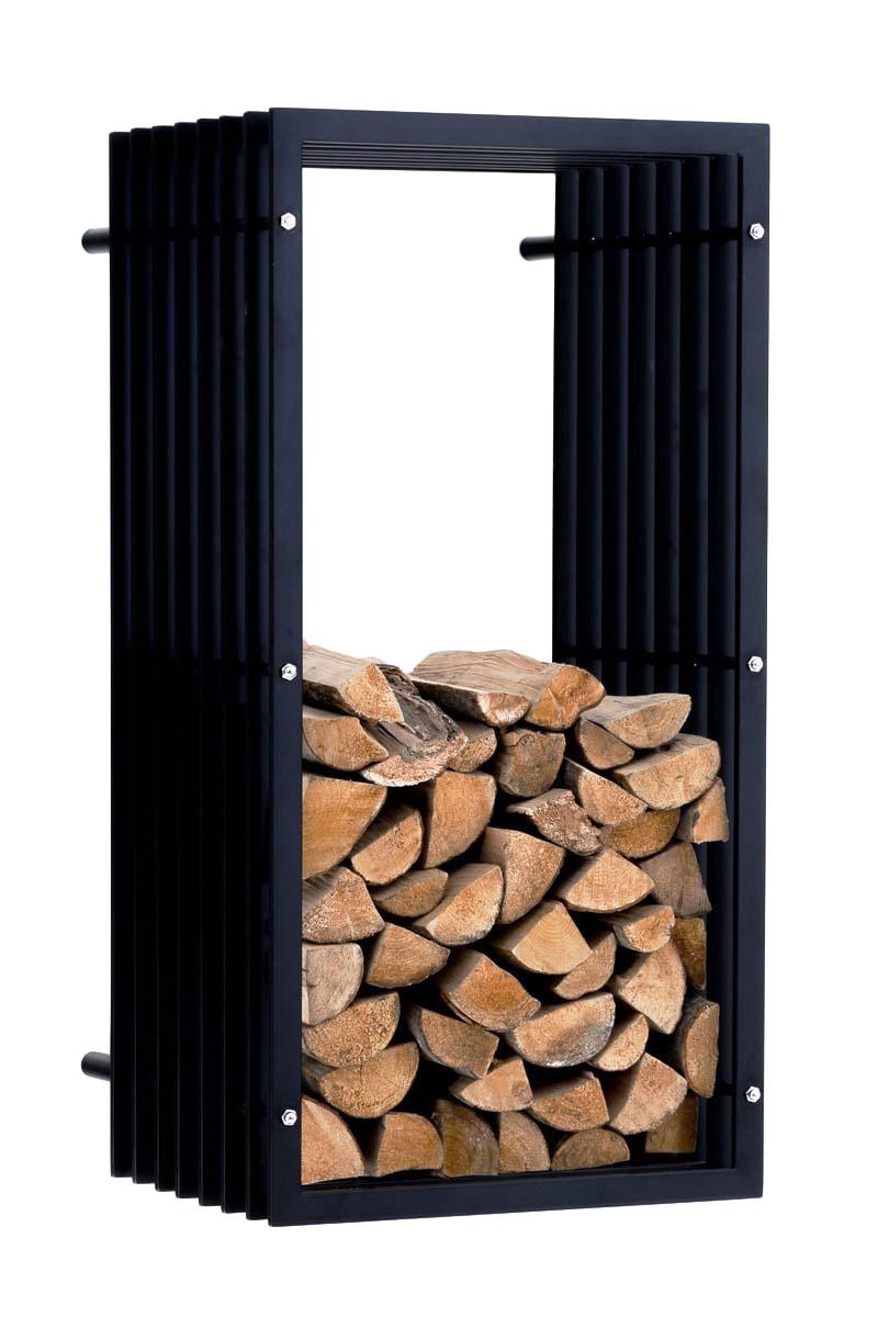 Stojan na dřevo nástěnný John, 100 cm, matná černá