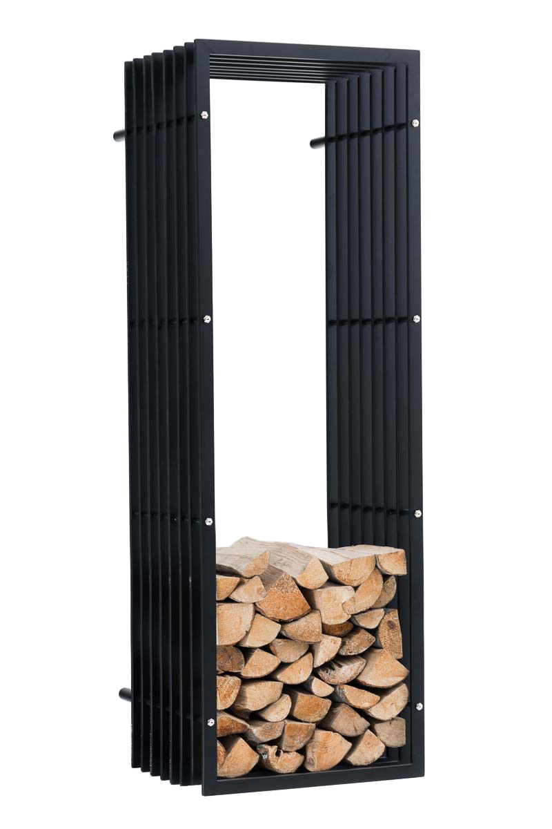 Stojan na dřevo nástěnný John, 150 cm, matná černá