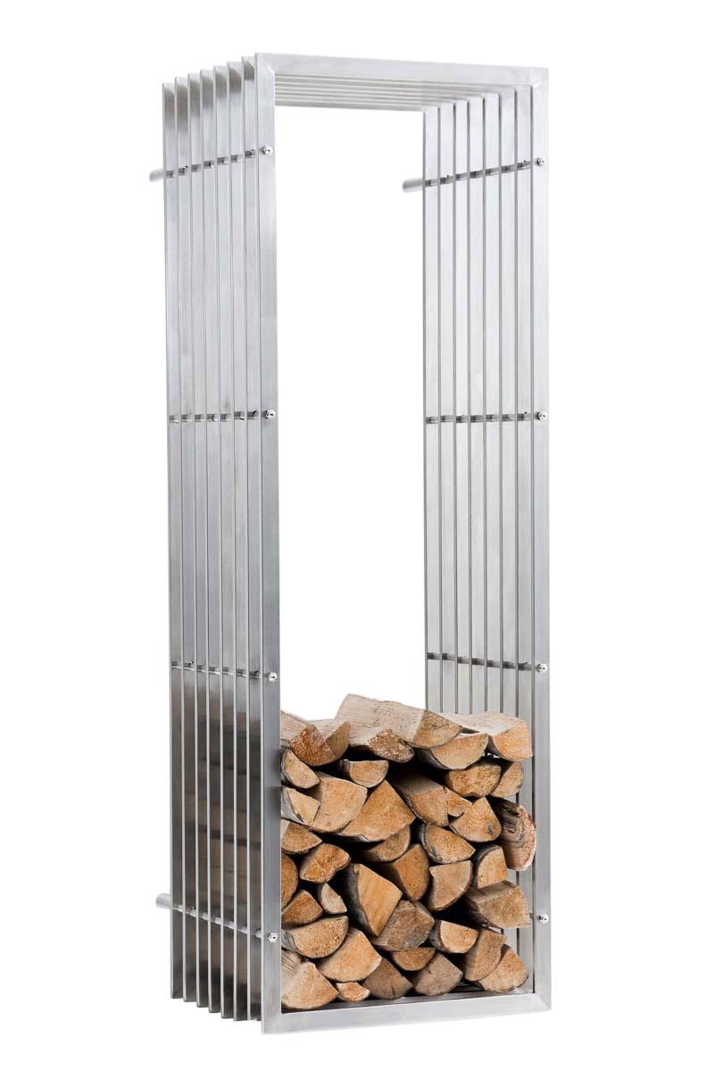 Stojan na dřevo nástěnný John, 150 cm, nerez