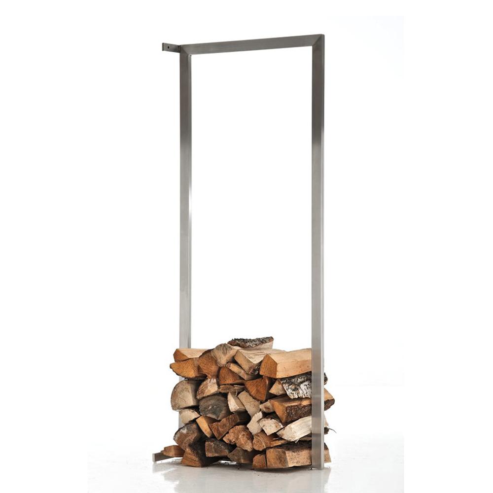 Stojan na dřevo nástěnný Muren, 60x150 cm, nerez