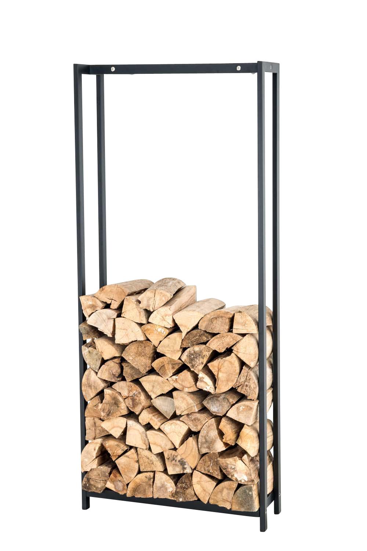 Stojan na dřevo Skog, 200x45 cm, matná černá