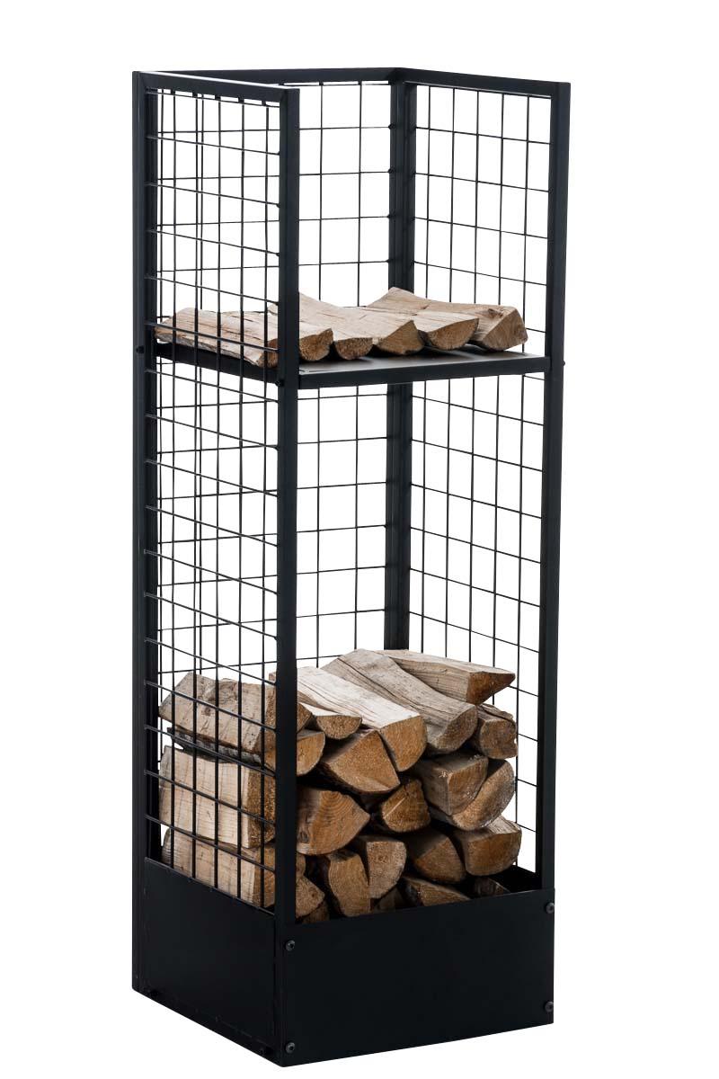 Stojan na dřevo Skove, 40x120 cm, černá