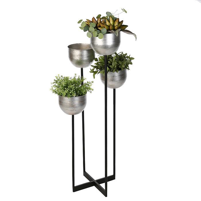 Stojan na květiny Aram, 97 cm, černá / stříbrná