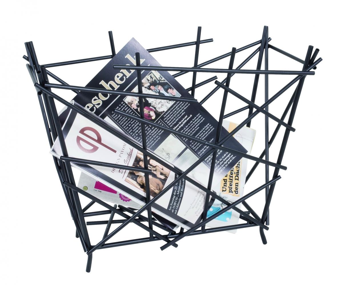 Stojan na noviny Haze, 39 cm, černá