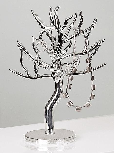 Stojan na šperky ve tvaru stromku, 31 cm, stříbrná