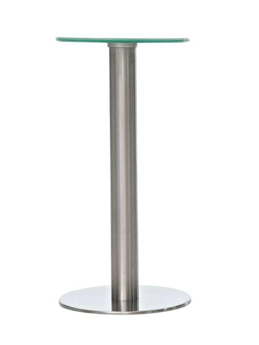 Stolek s nerezovou podnoží Minor, 30 cm čiré sklo