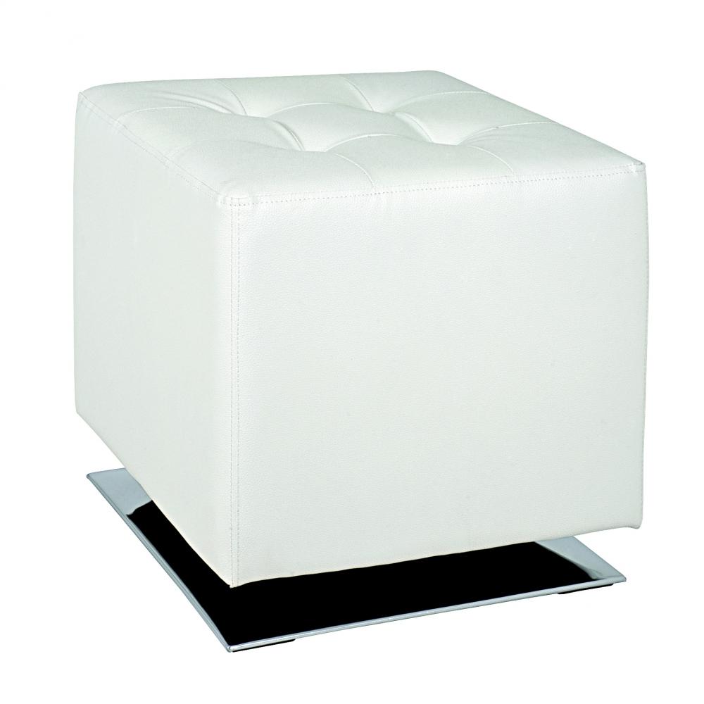 Stolička Josiah, 42 cm, chrom / krémová bílá