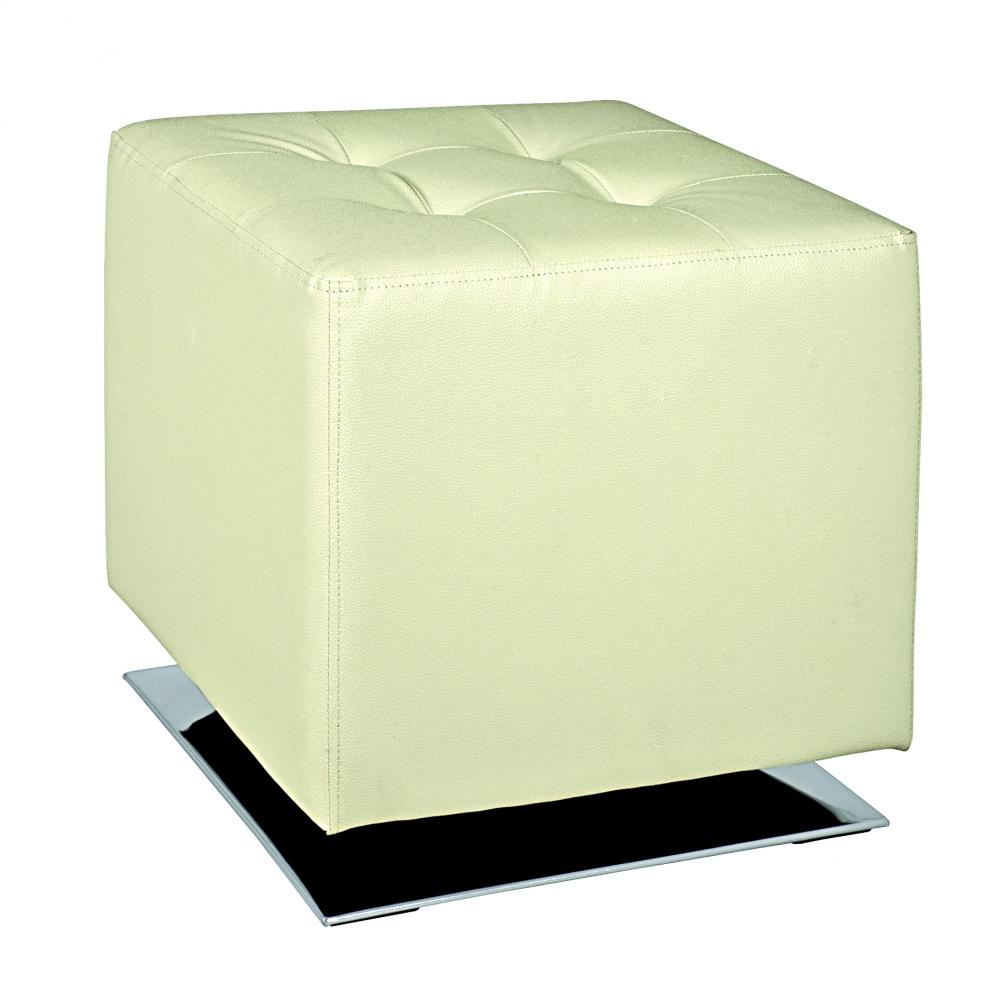 Stolička Josiah, 42 cm, nerez / krémová bílá