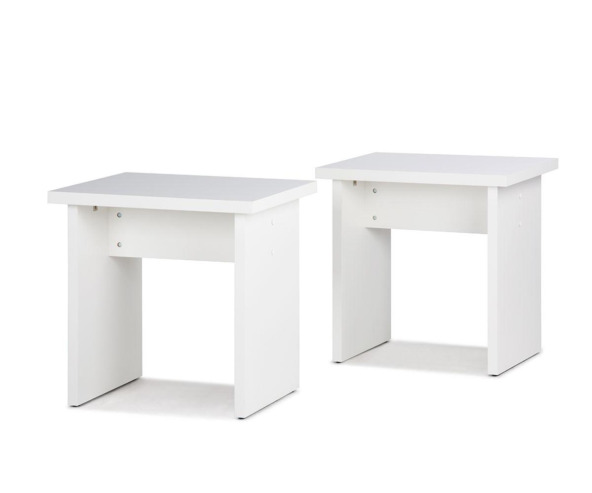 Stolička / stolička bez operadla Baden (SET 2 ks), biela, biela