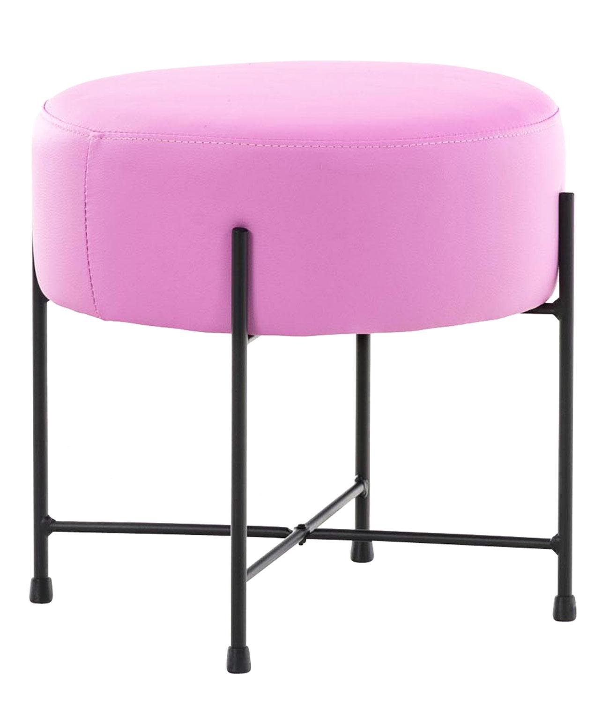Stolička / taburetka France kůže růžová