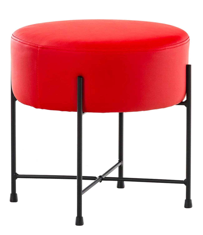 Stolička / taburetka France kůže červená