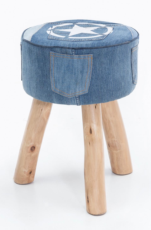 Stolička trojnožka Dana, 35x50 cm, modrý denim
