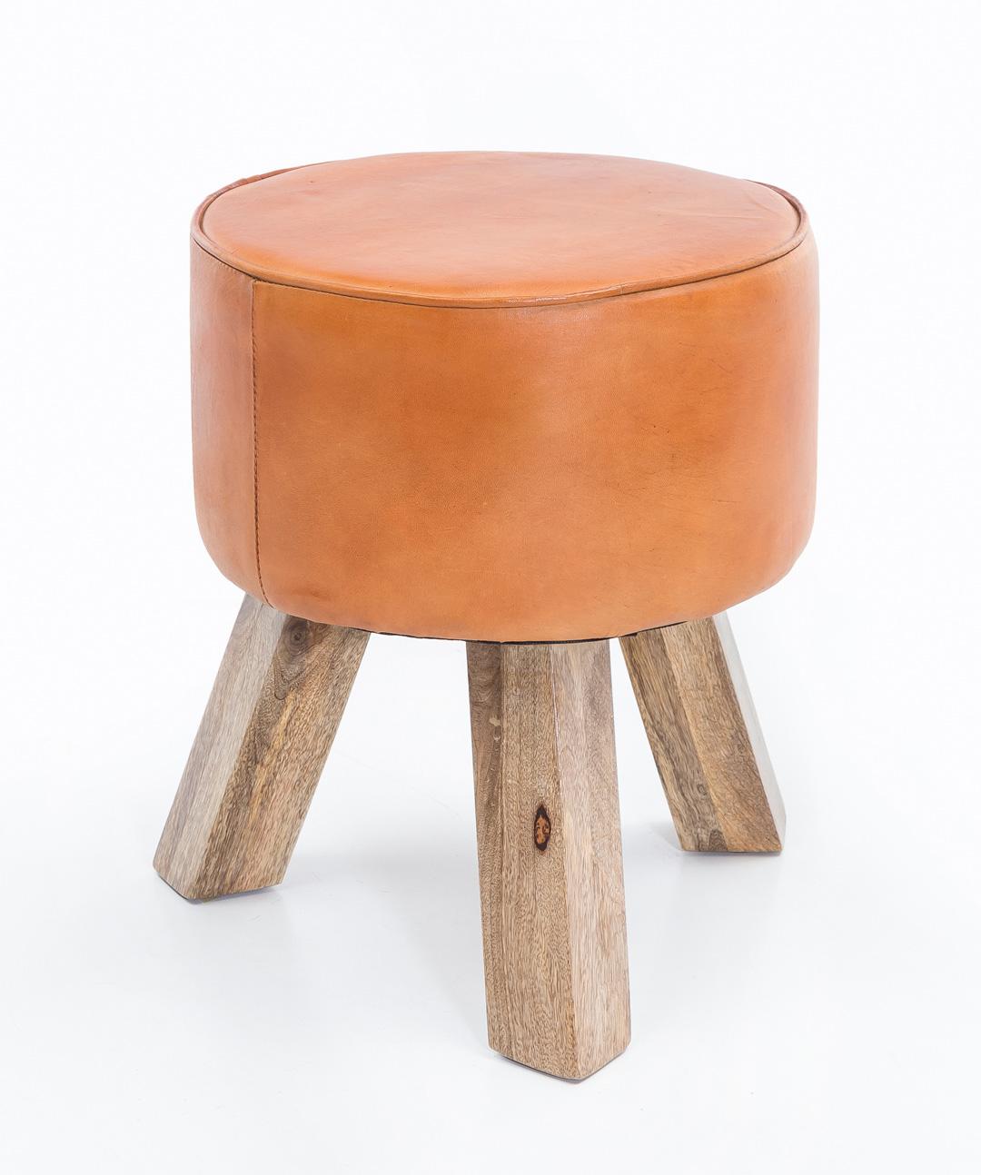 Stolička trojnožka Dana, 37x45 cm, hnědá kůže