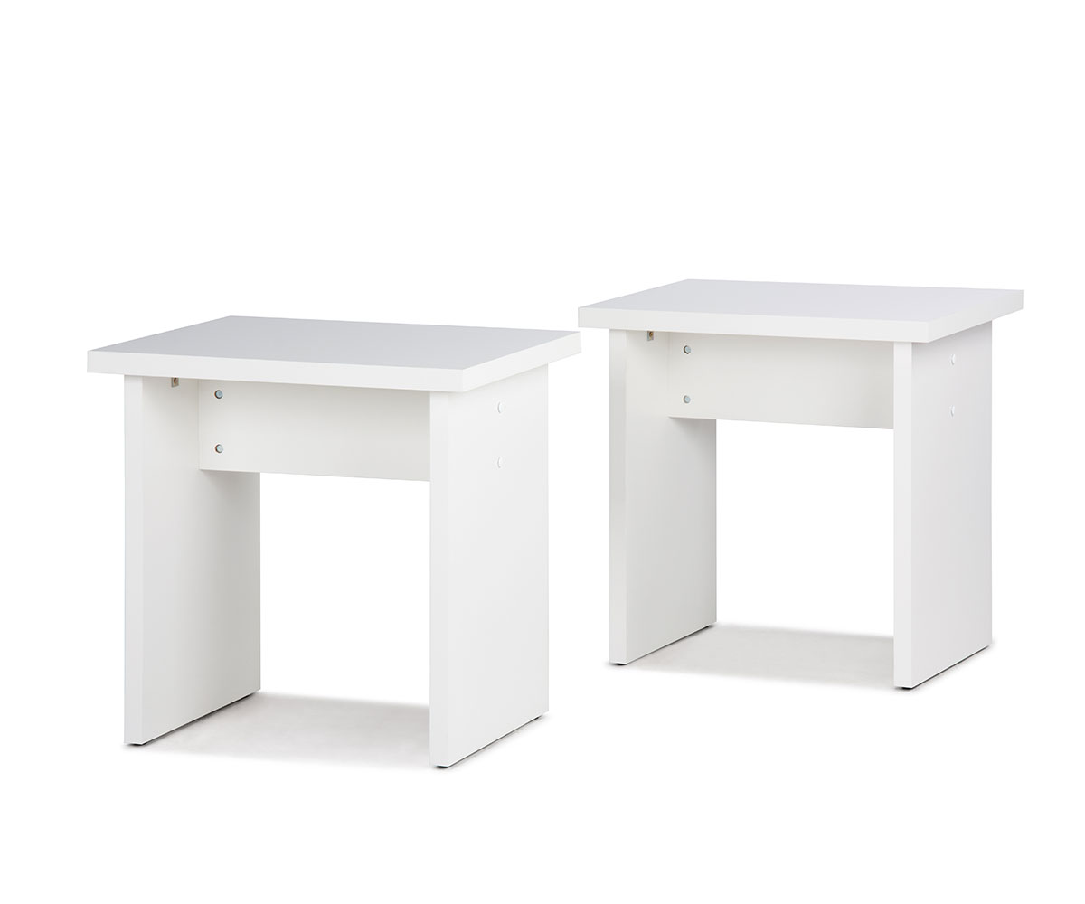 Stolička / židle bez opěradla Baden (SET 2 ks), bílá
