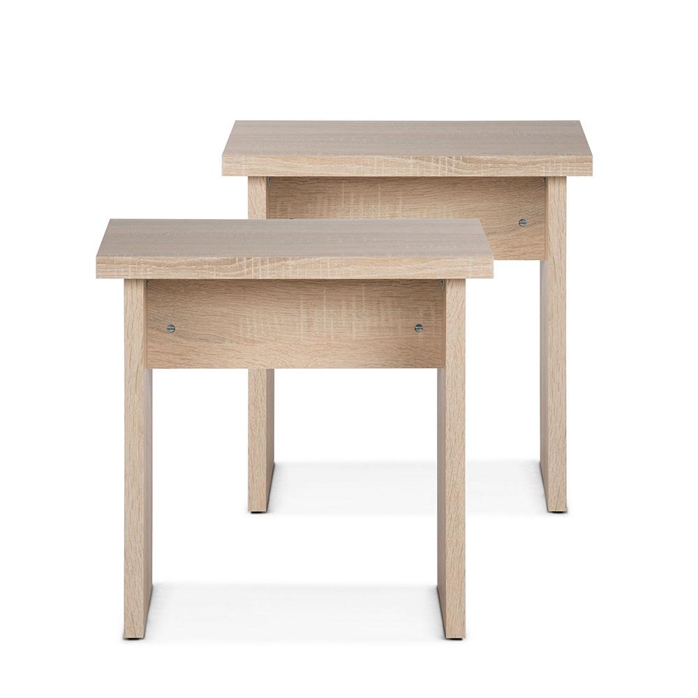 Stolička / židle bez opěradla Baden (SET 2 ks), dub