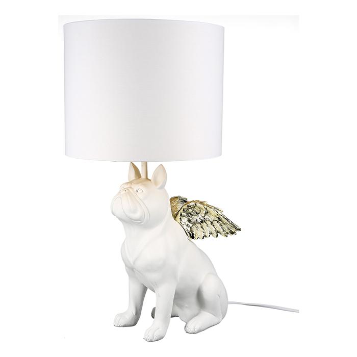 Stolní lampa Dogies, 55 cm, bílá