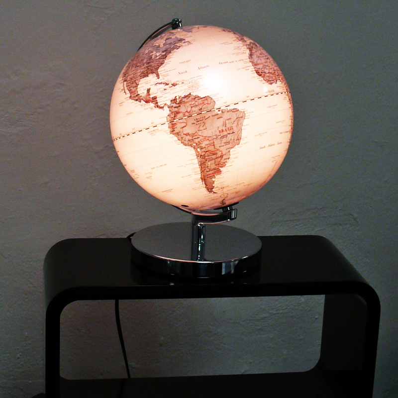 Stolní lampa Globus na kovovém podstavci, 25 cm