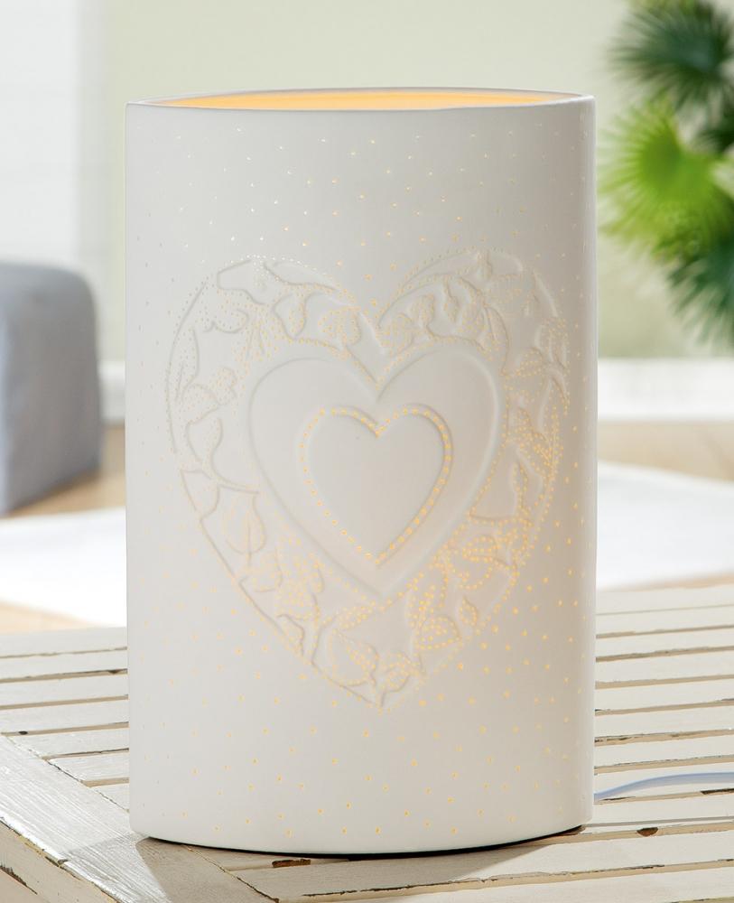 Stolní lampa Heart, bílá