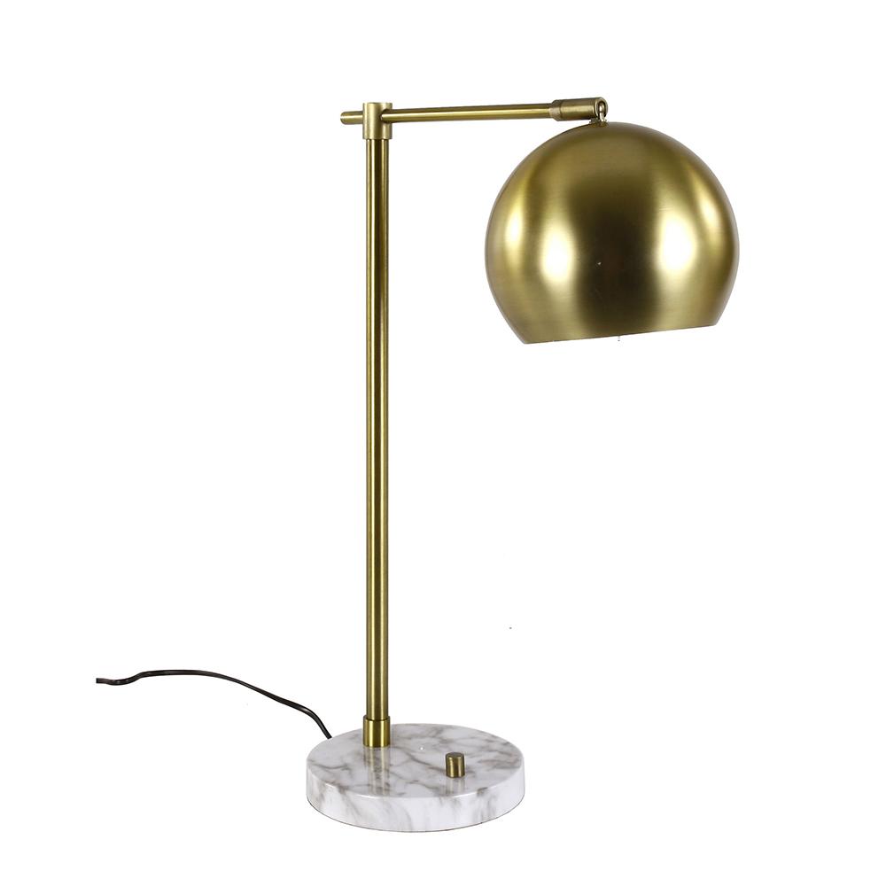 Stolní lampa se stmívačem Krika, 56 cm, mosaz/mramor