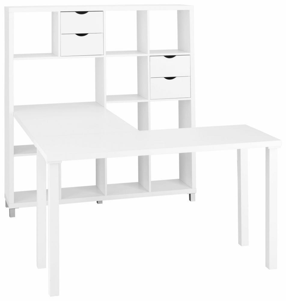 Stůl s knihovnou Kera, 153 cm, bílá