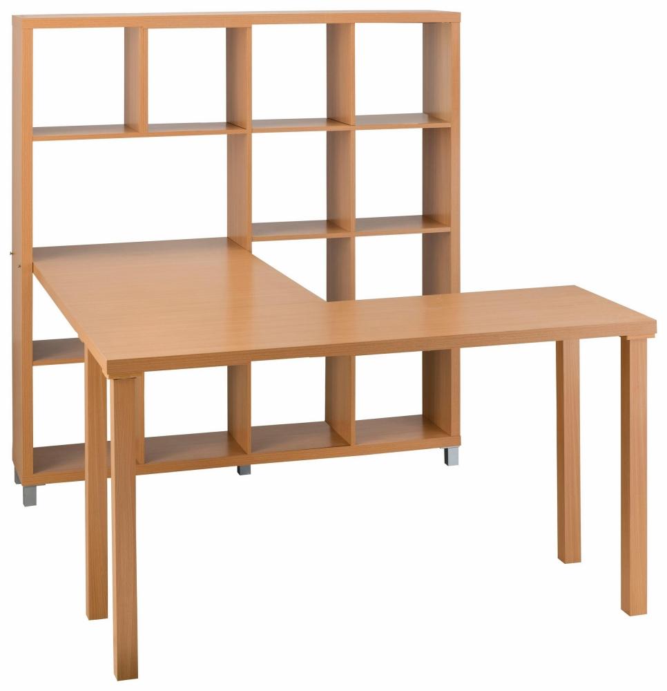 Stůl s knihovnou Kera, 153 cm, buk
