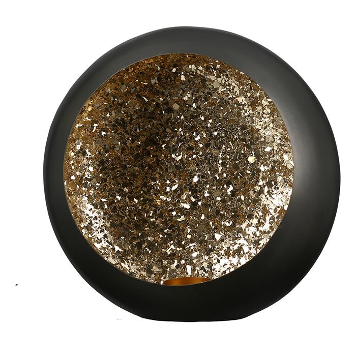 Svícen Anis, 19 cm, černá / zlatá