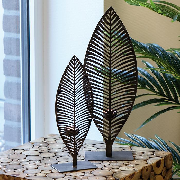Svícen kovový Palm leaf, 45 cm
