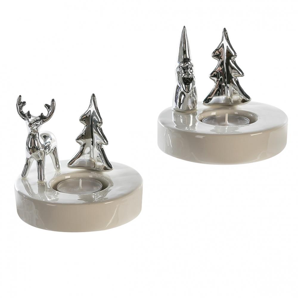 Svícen na čajové svíčky Woods (SET 2 ks), 11,5 cm, bílá / stříbrná