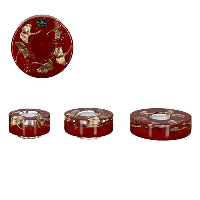 Svícen pro čajovou svíčku Gler, 13 cm, červená