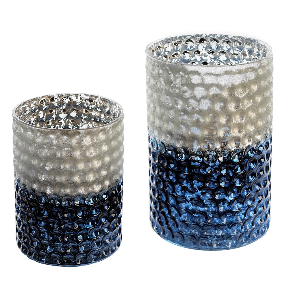 Svícen skleněný Lacuna, 20 cm, modrá