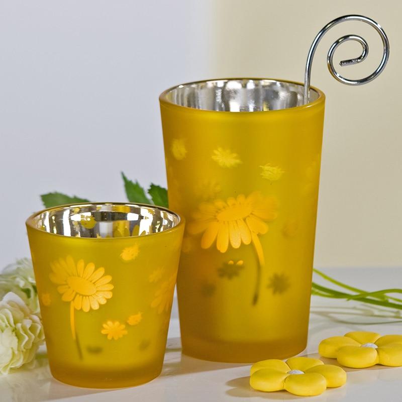 Svietnik čajový Flora, 6,5 cm , žltá