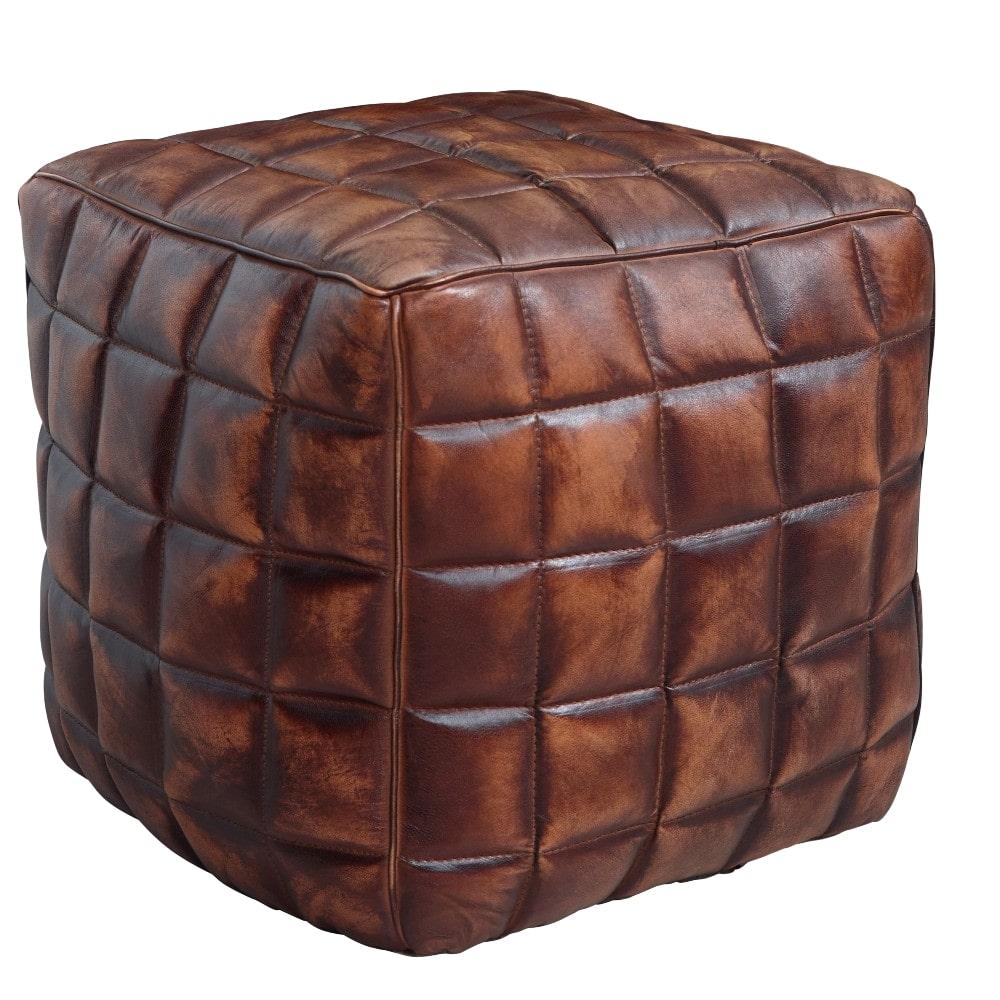 Taburet Cube, 41 cm, pravá kůže