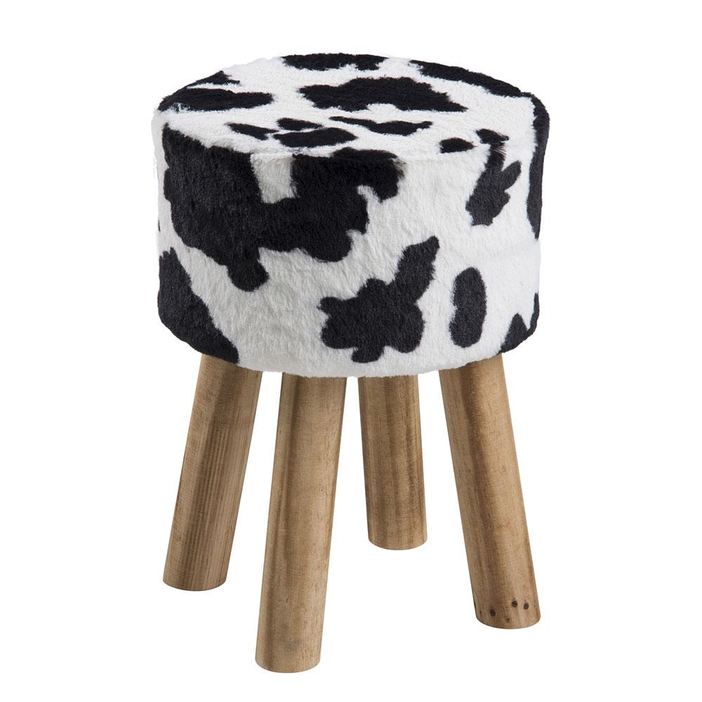 Taburetka guľatá Marlen, kravský dizajn, čierna / biela