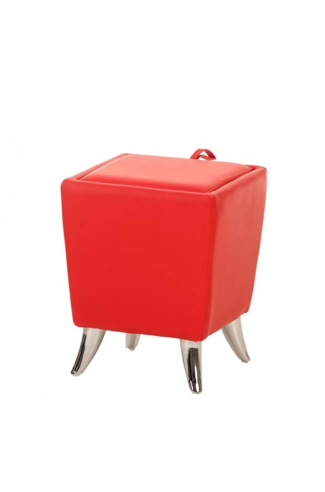 Taburetka Roxy, syntetická kůže, červená