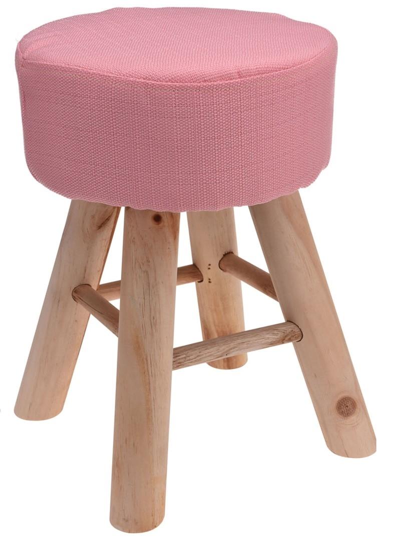 Taburetka s dřevěnými nohami Limpa, 30 cm, růžová
