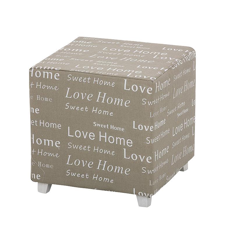 Taburetka s potlačou Love Home, sivá, šedá