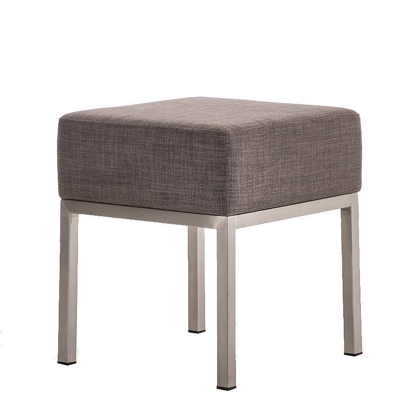Taburetka / stolička s nerezovou podnožou Malaga textil, biela