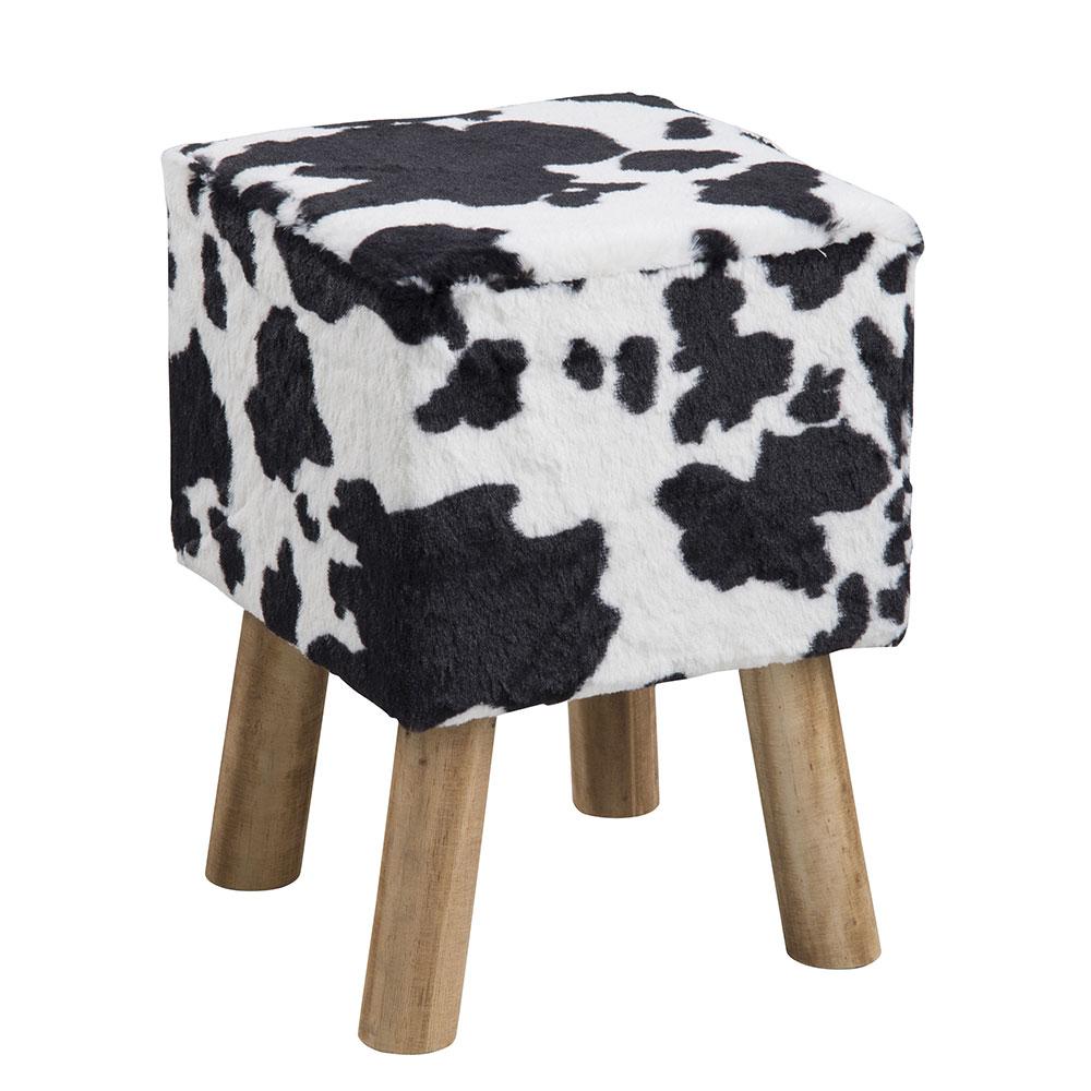 Taburetka štvorcová Marlen, kravský dizajn, čierna / biela