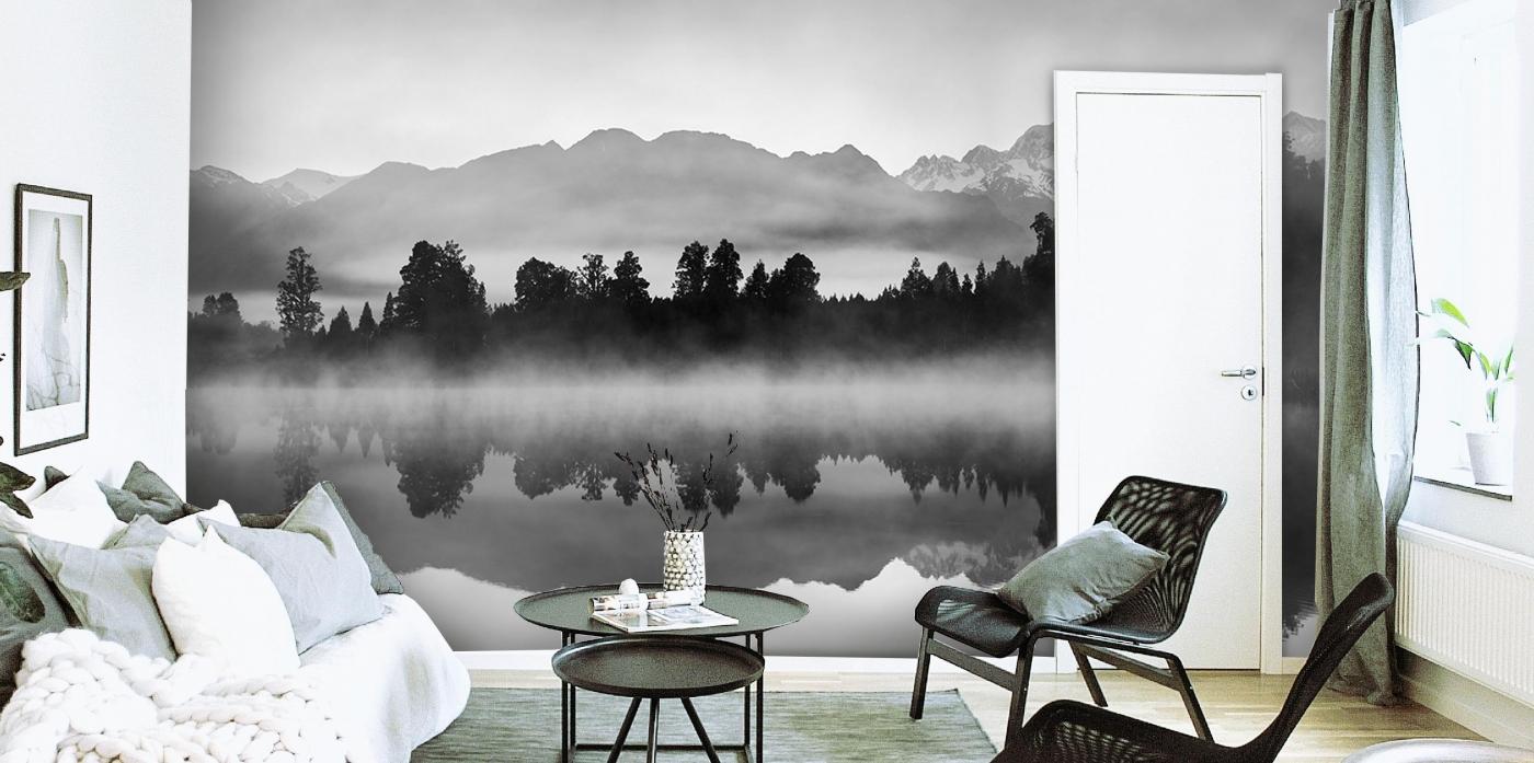 Tapeta Černobílé horské jezero, 216 x 140 cm