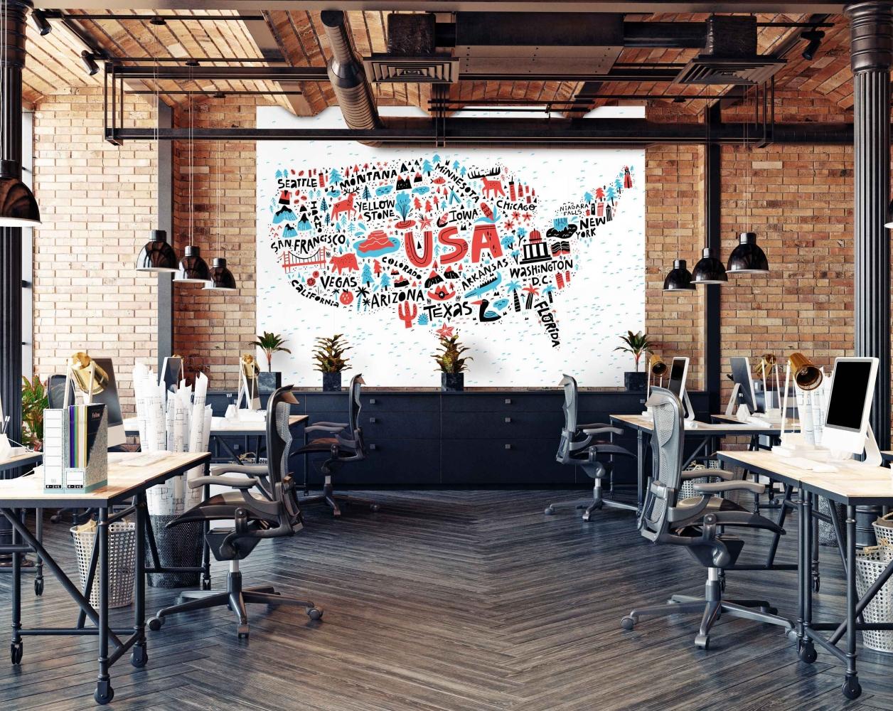 Tapeta Grafická mapa USA, 216 x 140 cm