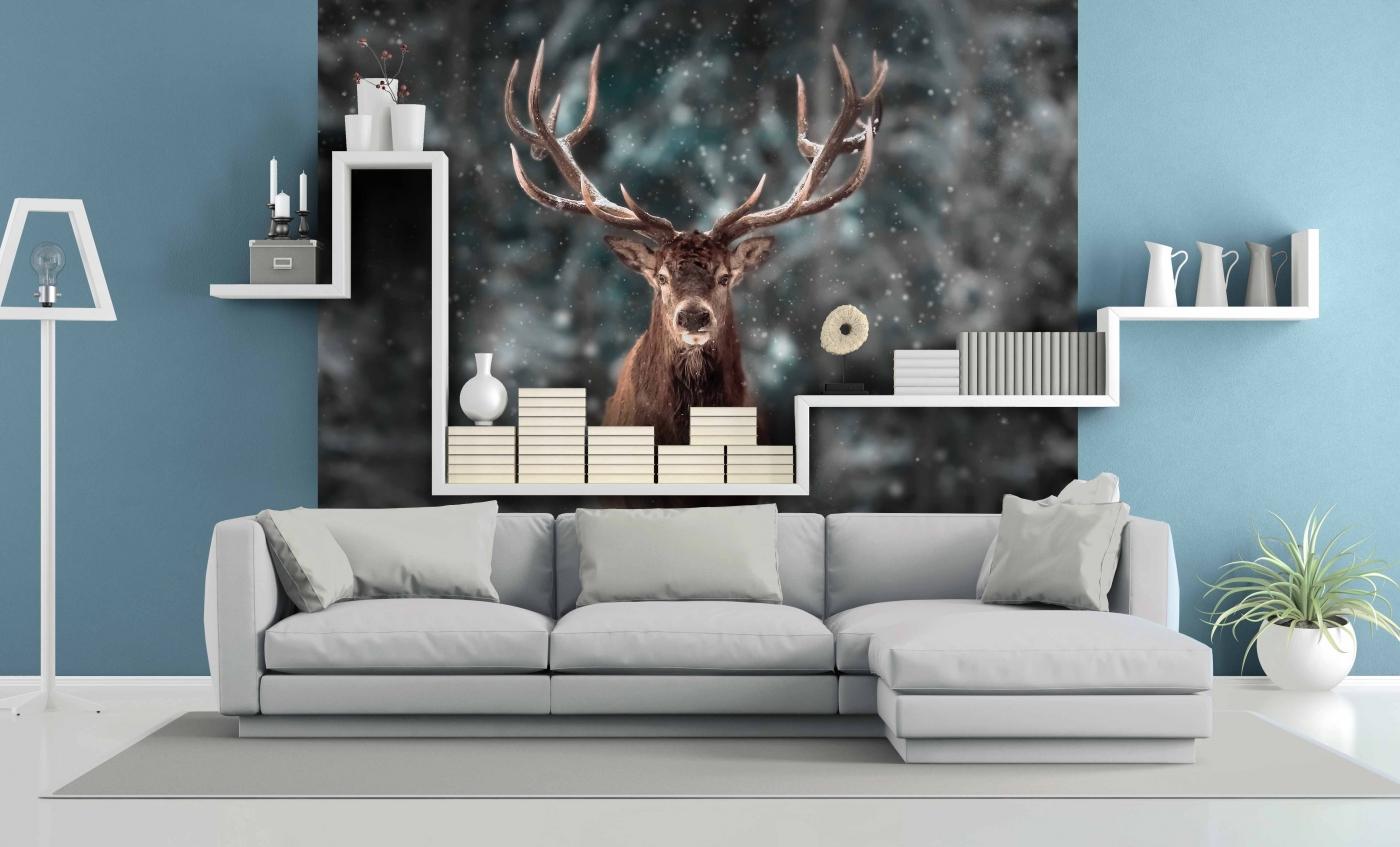 Tapeta Jelen v zimě, 144 x 105 cm