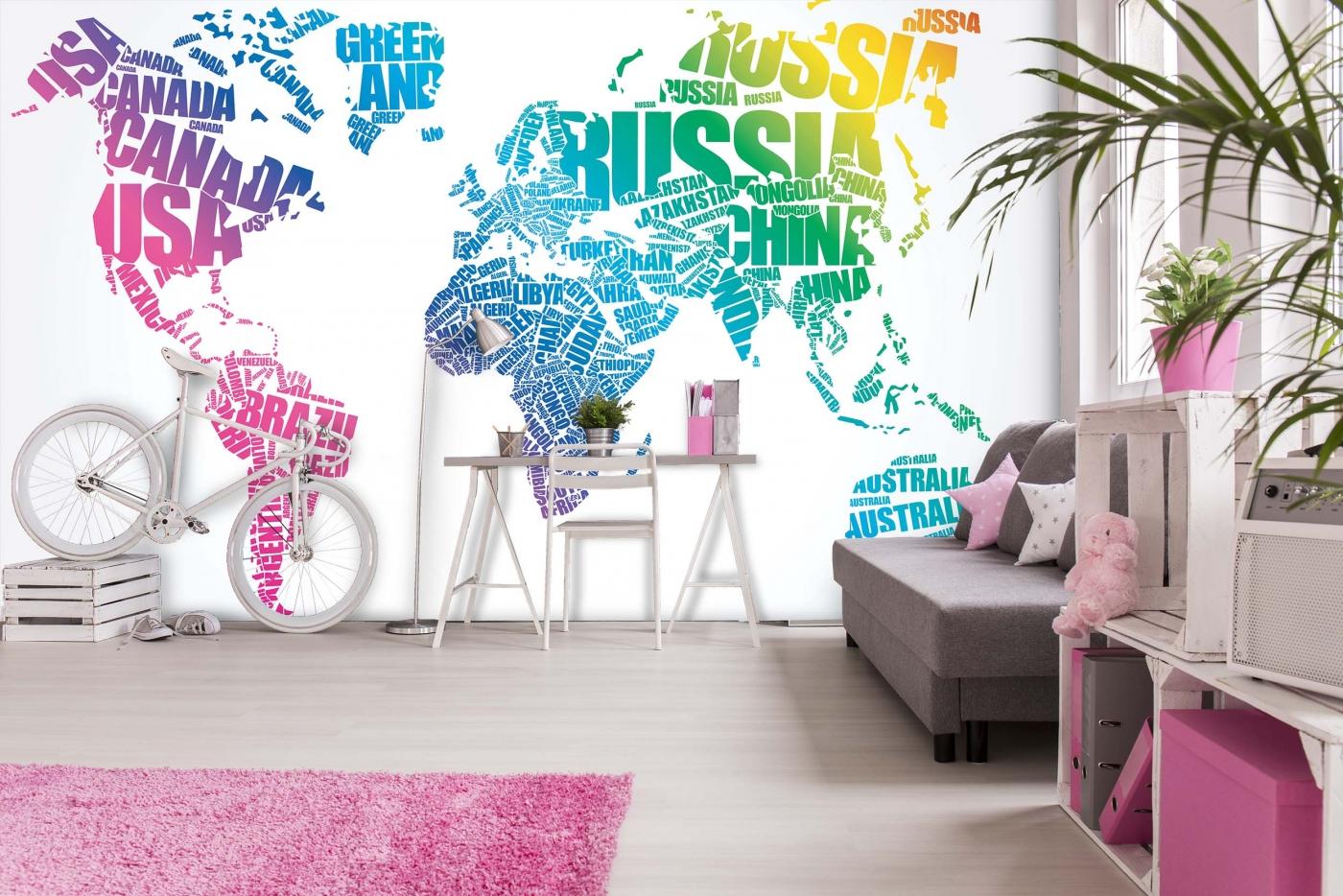 Tapeta Mapa textová, 288 x 200 cm