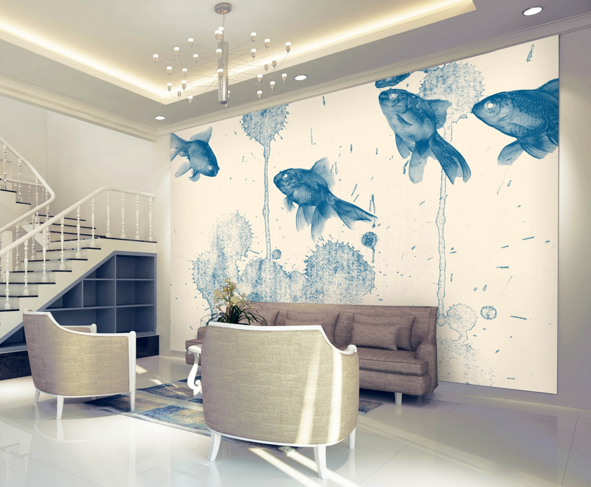 Tapeta Modré rybky, 144 x 105 cm