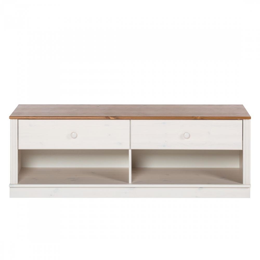 Tv stolek Anat, 136 cm,  bílá / borovice