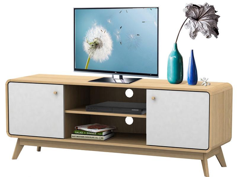 Tv stolek Calin, 140 cm, bílá / dub