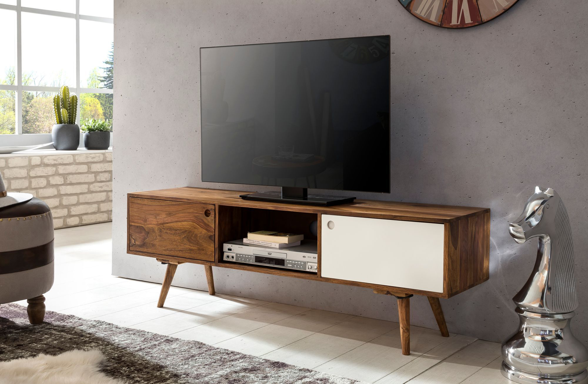TV stolek s 2 dveřmi Repa, 140 cm, masiv Sheesham, bílá