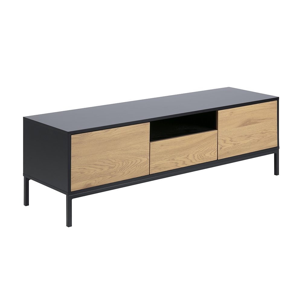 TV stolek s dveřmi a zásuvkou Seashell, 140 cm, dub