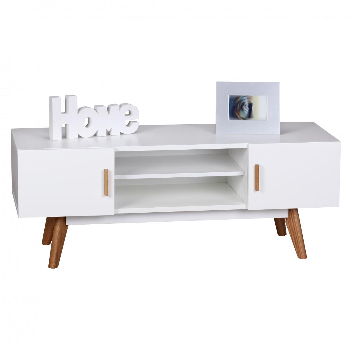 TV stolek s dvířky a policí Scanio, 120 cm, bílá/dub